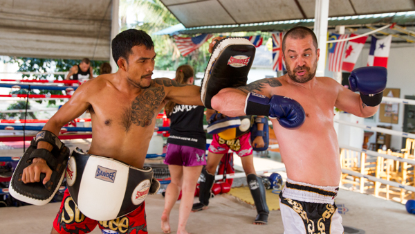 Chris training with Khru Kaeng