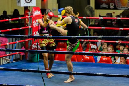 Rhona in her first A-Class Muay Thai fight