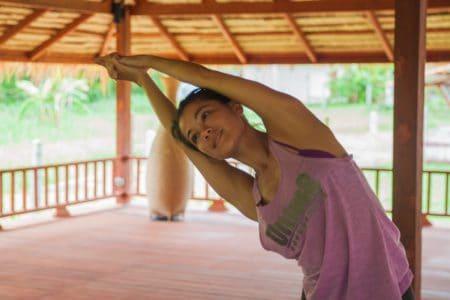 Nikki Carter-Yoga Half Moon Pose - Sumalee Studio