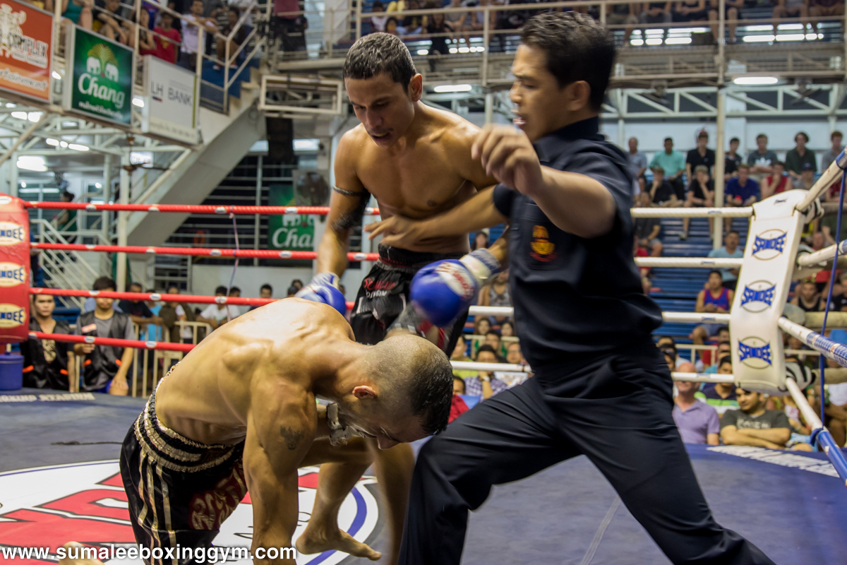 Super Bank Knocking Down His Opponent During The Muay Thai Fight