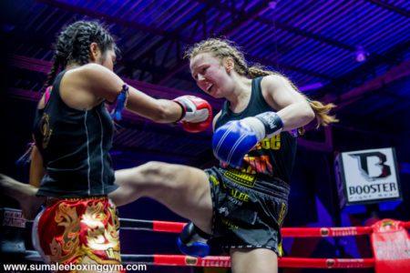 Rhona Walker - Body kick at Chokchai Stadium