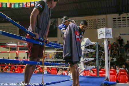Entering the ring at Patong Boxing Stadium